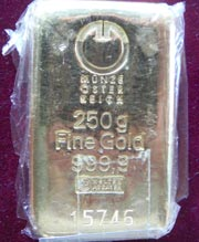 250 g Gold Goldbarren